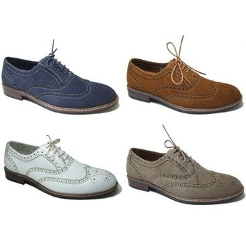 Mens Dress Shoes Lace up Oxfords Wing Tip Faux Suede Upper Leather Lined By Ferro Aldo New in Box