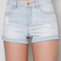 PacSun Playa Ripped Mid Rise Super Stretch Denim Shorts at PacSun.com