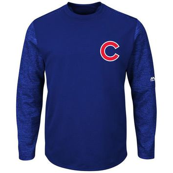 Men's Chicago Cubs Majestic Royal Authentic Collection On-Field Tech Fleece Pullover Sweatshirt