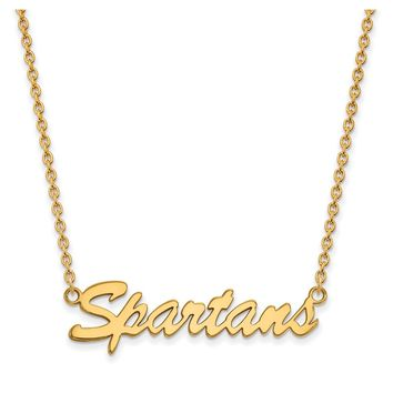 NCAA 14k Gold Plated Silver Michigan State Medium Pendant Necklace