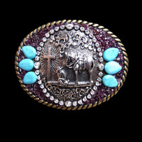 Western Praying Cowboy with Rhinestones and Garnet Mosaic Belt Buckle