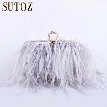 Ostrich Feathers Handmade Clutch Evening Bags Women's Pouch Purse Lady's Handbags Diamond Luxury Clutch Party Messenger BA379