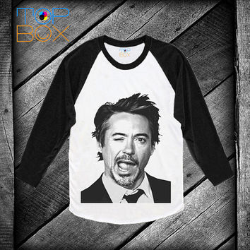 robert downey jr tony stark ironman raglan shirt tank top raglan sweatshirt women baseballshirt