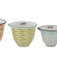 Hand Painted Stoneware Measuring Cups