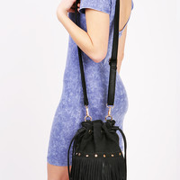 Fringe Cinch Bucket Bag - Bucket Bags at Pinkice.com