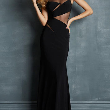 Black Mesh-Paneled Maxi Dress