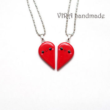 Kawaii Red Heart Couple/Best Friends Necklaces