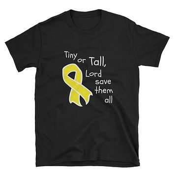 Tiny or Tall Childhood Cancer Awareness Unisex T-Shirt