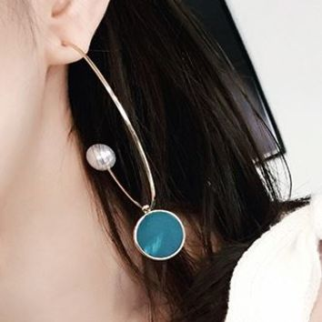 Marble Pattern Extravagant Hook Ear Cuffs (Blue) - LilyFair Jewelry
