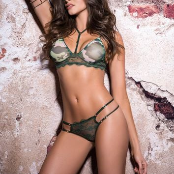 Camo Bra &  Lace Panties Set