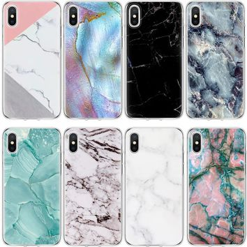 Case For iPhone Xs Max XR 5S SE 6 6S 7 8 Plus X Marble Cover For 6c606bbfe