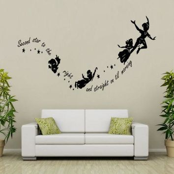 Tinkerbell Second Star To The Right Peter pan Wall DIY Kid Bedroom Nursery Vinyl Decal Decor Removable PVC Cartoon Wall Stickers