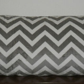 Decorative Body Pillow Cover- Free US Shipping - 18 1/2 X 50  inch MINKY fabric in Gray and White Zigzag/Chevron