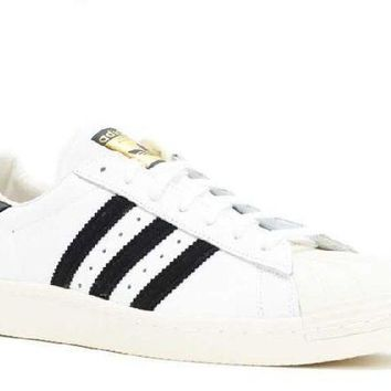 ESBON Ready Stock Adidas Superstar 80s White Black Chalk Sport Running Shoes