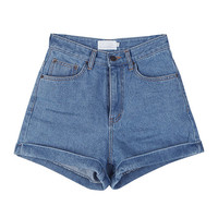 Denim High-Waist Roll-Up Shorts