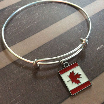 Canada Flag Charm on an Expandable Bracelet Silver Wire Adjustable Bangle Trendy Stacking Jewelry  Red and White