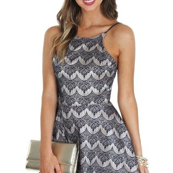 Lace Mini Fit & Flare Navy