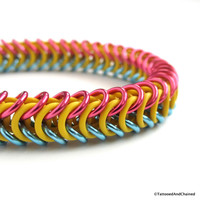Pansexual pride stretchy bracelet, chainmaille box chain