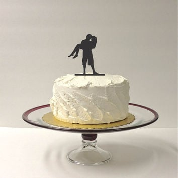 Romantic Silhouette Wedding Cake Topper Bride and Groom Dancing Silhouette Wedding Cake Topper Mr and Mrs Cake Topper