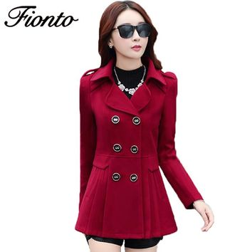 FINOTON Casual Winter Women Wool Coat 2017 Double-Breasted Button Lapel Pocket Plus Size Long Sleeve Ladies Woolen Jackets F462