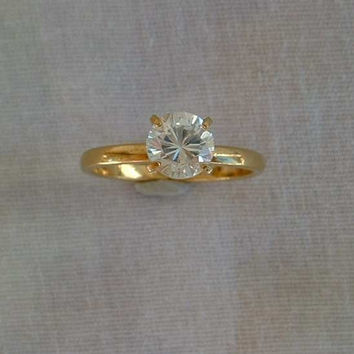 Solitaire CZ Engagement Ring Size 7 Brilliant Cut Signed Vintage Jewelry
