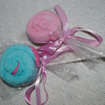 Wash cloth lollipops