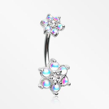 Iridescent Revo Spring Flower Sparkle Prong Set Belly Button Ring