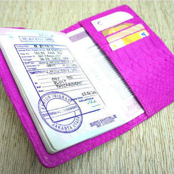Python Leather Passport Holder Hot pink Passport Cover by mrhanz