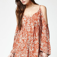 LA Hearts Printed Bell Sleeve Cold Shoulder Dress at PacSun.com