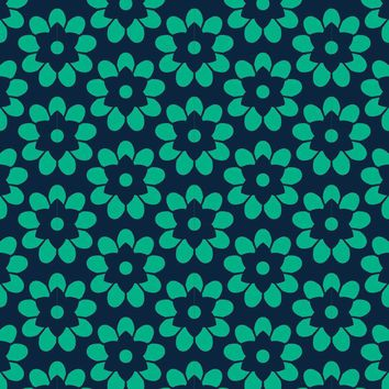 Wallpaper by the square foot Turquoise Flower Pattern