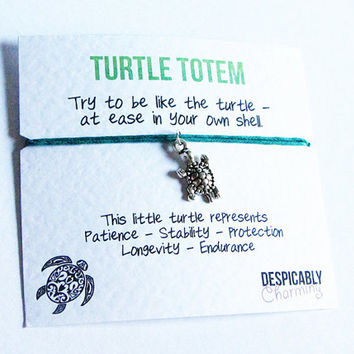 Turtle Friendship Bracelet Wish with Antiqued Silver Turtle Charm - Perfect BFF Gift