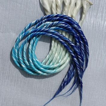 White Blonde Turquoise & Dark Blue Ombre Clip in Dread Hair Extension Hand Wefted up to 24 inches Long Made To Order