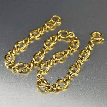 Vintage Gold Fill Infinity Chain Charm Bracelet