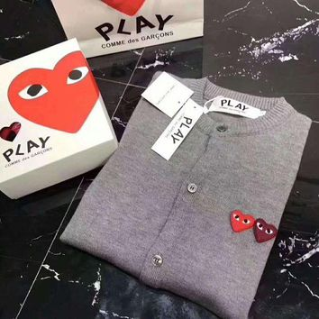 PEAPUF3 play cdg Fashion Knit Button Round Neck Long Sleeve Embroider Sweater Coat G-ZDL-STPFYF