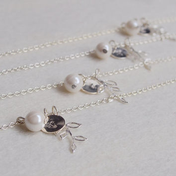 Gift for Bridesmaid jewelry, Bridesmaid necklace, Personalized necklace, Wedding party gifts, branch pendant, statement initial Lariat Gift