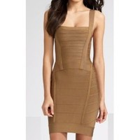 Herve Leger Bandage Chestnut Dress [2011052308] - $278.00 : shoesoutletus.com, shoesoutletus.com