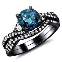 1.40ct Blue Round Diamond Engagement Ring Bridal Set 18K Black Gold Rhodium Plating Over White Gold