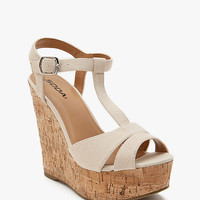 Path-S Cotton Fabric T Strap Cork Wedge