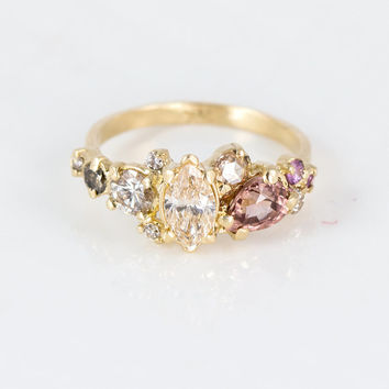 Blush Cluster Ring With Champagne & Cognac Diamonds, Purple Sapphires, and Pink Zircon in 14k Yellow Gold, Champagne Diamond Engagement Ring