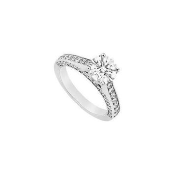 14K White Gold Semi Mount Engagement Ring 0.75 Carat Diamonds Center Diamond Not Included