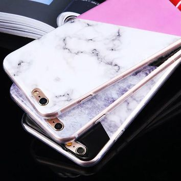 Geometric Splice Pattern Slim Marble Phone Cases
