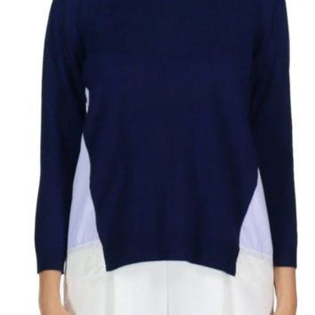 Navy Sweater w/ Striped Back by English Factory