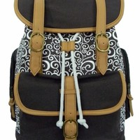 "Printed Canvas Laptop Bookbag Backpack Retro Pattern Cotton Canvas Daypack Vintage Casual Canvas Laptop Backpack Student Canvas Bookbag Canvas College School Bag Canvas Backpack Fit 15.6"" Laptop MacBook Chrome Book Ipad Leisure Outdoor Travel Bag Grey"