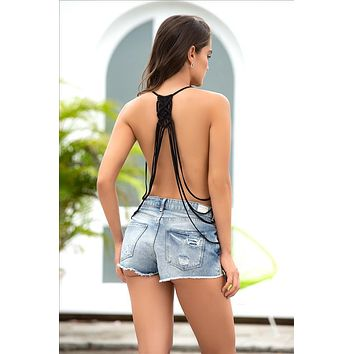 Black Open Back Handmade Macrame Detail Spaghetti Strap Tank Top