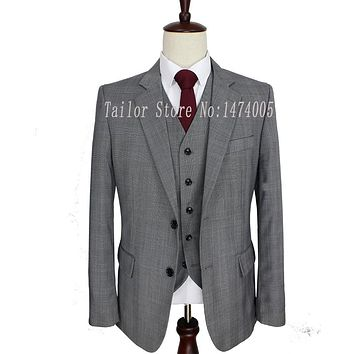 Worsted Wool Grey Tailor Made Slim Fit Wedding Suits For Men Custom Made Men Suit Groom Tuxedos 3 Piece Suits