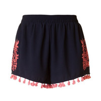 Embroidered Tassel Shorts - Navy