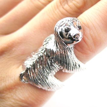 Large Three Toed Sloth Shaped Animal Wrap Ring in Shiny Silver | US Sizes 4 to 9