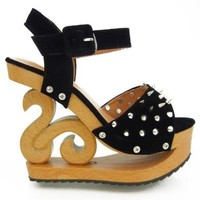 Show Story Gothic Punk Studs Spike Wooden Wedge Platform Clogs Sandals,LY11819