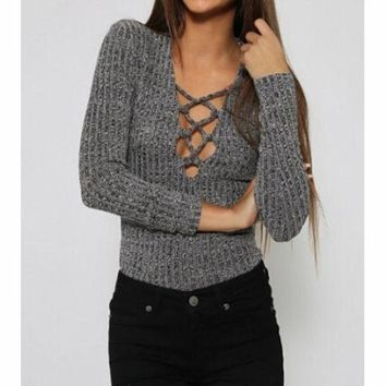 PEAPNH FASHION DARK GRAY LONG-SLEEVED SWEATER