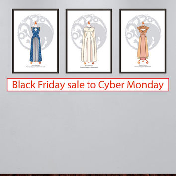 Black Friday Sale - Set of 3 Daenerys Targaryen gowns prints - Game of thrones posters - Daenerys Targaryen illustrations